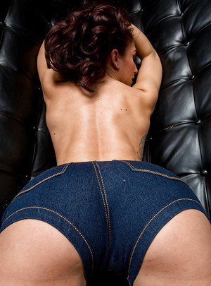 Undressing girl with redhead hair Mischa Brooks showing her ass