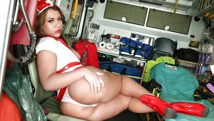 Tiny tits nurse Clarita Gold is posing in her sweet uniform