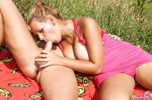 Horny cowgirl Leila is having her big tits teased outdoor