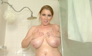 Mature slut Desiree Deluca is taking a hot shower all alone