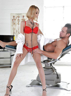 Erica Fontes cures her sexy patient by giving him a deep blowjob