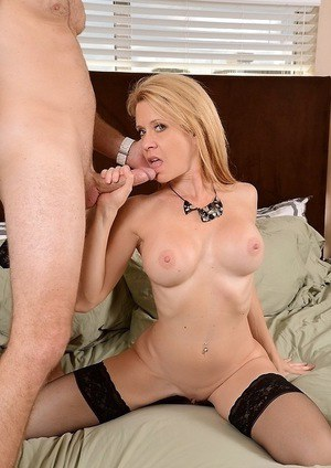 Desi Dalton trying to make her husband satisfied with a deep blowjob