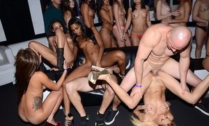Girls are in the club having a groupsex party and reverse gangbang