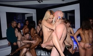 Fine ass latina is giving blowjob to big cocks at cool orgy party