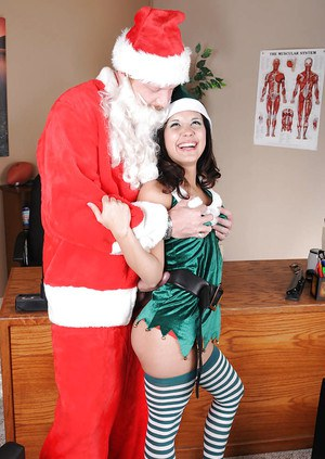 Christmas cosplay girl Tia cyrus take a huge dick in her pussy