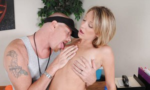 Amy Brooke and her muscled teacher having fun at school