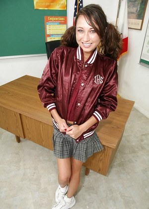 Asian schoolgirl Jesse Jorden has skinny body and small tits