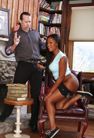 Office ebony babe Monique gives a hardcore blowjob while clothed