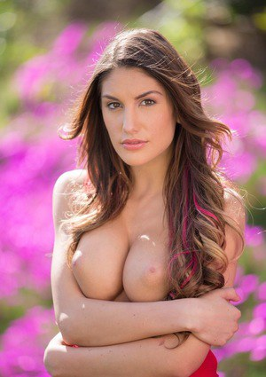 Slutty model August Ames posing showing amazing forms outside