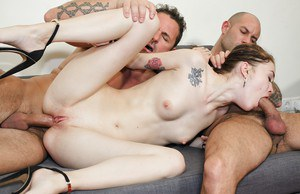 Threesome girl Mischa takes a double penetration banging for a cumshot