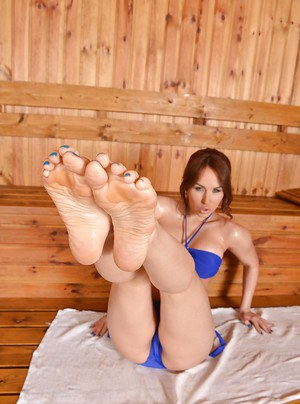 Oiled girl Aleska Diamond loves foot fetish in her new blue bikini