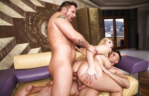 Groupsex lover Angel Wicky gets double penetrated deep on the couch