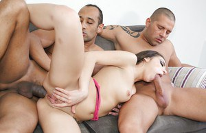 Threesome lover Henessy gets an interracial double penetration