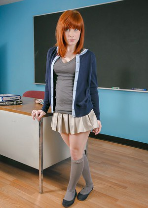 Schoolgirl redhead Sadie undressing her lingerie to show these titties