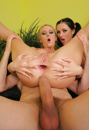 Big tit abbes Lynn and Mandy love to suck a cock and to be fucked anally