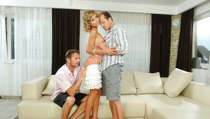 Pretty blonde Ioana has a threesome blowjob with two fat cocks