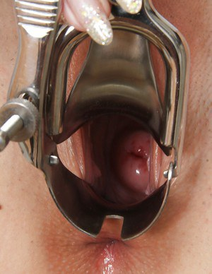 European babe masturbating her tight pussy in gyno doctor cabinet