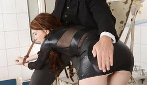 Fetish lady Misha has a rough BDSM ass fucking evening with a hard cock