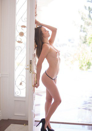 Awesome brunette babe Maddy undressing her panties and bikini