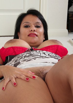 Zealous fatty Lucey Perez rubbing nipples and getting pleased