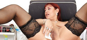 Darja playing with a huge sex toy and reaching sexual peak
