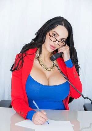 Big tit offica brunette Amy Anderssen undressing her stunning body