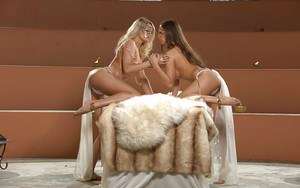Small tit lesbians kissing and touching their tits and pussies