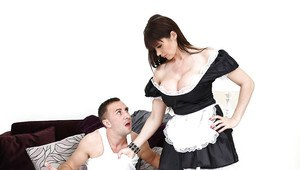 Brunette milf maid sucks a huge cock like a lolipop