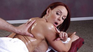 Hardcore brunette milf Janet gets a massage and gives a blowjob