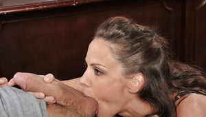 Hardcore secretary in glasses McKenzie giving a deep blowjob