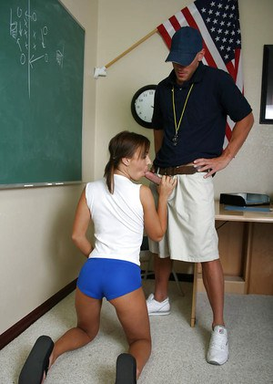 Big tit teen Jaclyn giving a sloppy blowjob to her coach