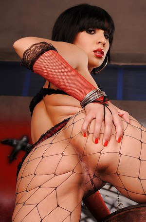 Nasty brunette babe in pantyhose Effy undressing her awesome body