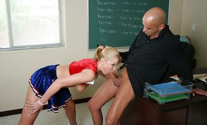 Stunning cheerleader schoolgirl Barbie gives a deep blowjob