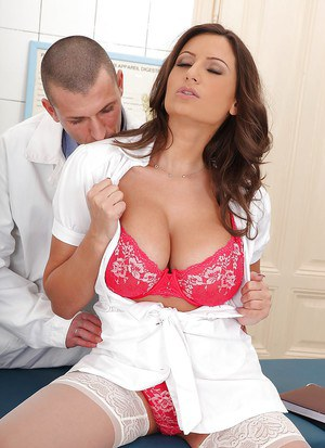 Stunning big tit nurse Sensual gives a good european blowjob