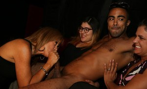 Huge party latina babes are sucking a big dick and eating cumshot