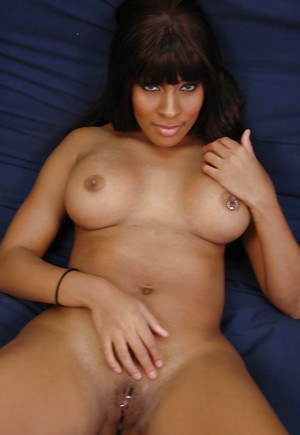 Cute amateur babe Yasmine has big ebony tits and pink wet pussy