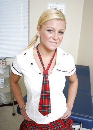 Pretty blonde schoolgirl babe Cali undressing that pussy and ass
