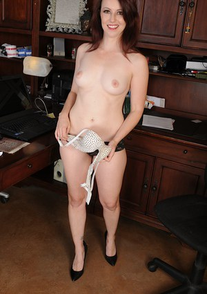 Milf brunette undressing her panties and showing her tight hole