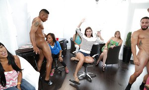 Clothed babes having an interracial party with big dick guys
