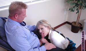 Sweet blonde schoolgirl teen Daryn giving a juicy blowjob