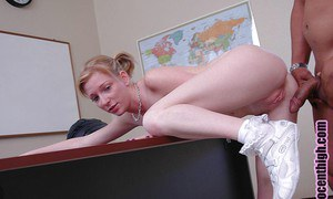 Schoolgirl blonde Alexa has a nasty interracial sex on the desk