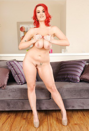 Nasty redhead babe with huge tits Siri showing her hot looking body