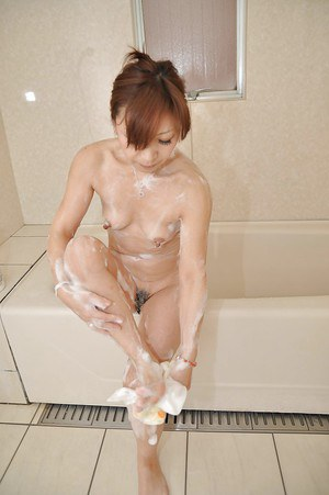 Cute small tit asian milf Misa washing her mature ass and pussy
