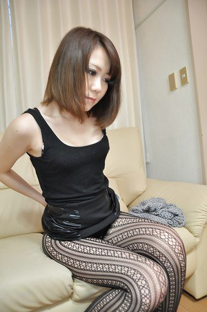 Beautiful asian brunette Mari looks amazing in her black pantyhose