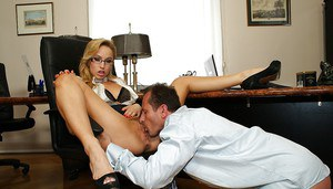 Awesome blonde whore in glasses Aleska is banged in her holes