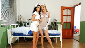 Cute lesbian nurse are teading and nasty licking each others pussies