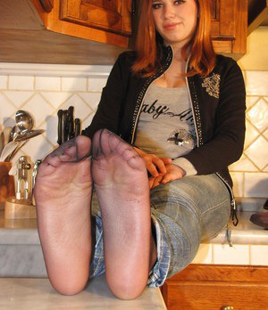 Foot fetish girl in glasses Eva showing these magnificent legs