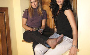 Stunning babe with sexy legs Erica and Selene are up for some foot fetish