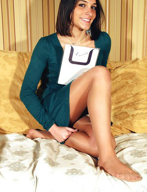Stunning brunette beautify Valentina is so dazzling in pantyhose