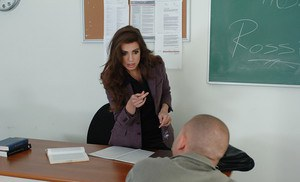 Beautiful brunette teacher Rossi is damn nailed in her holes